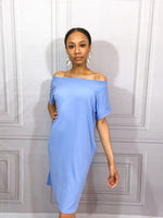Spring Blue Short Sleeve T-Shirt Dress - Fabuluxe Boutique