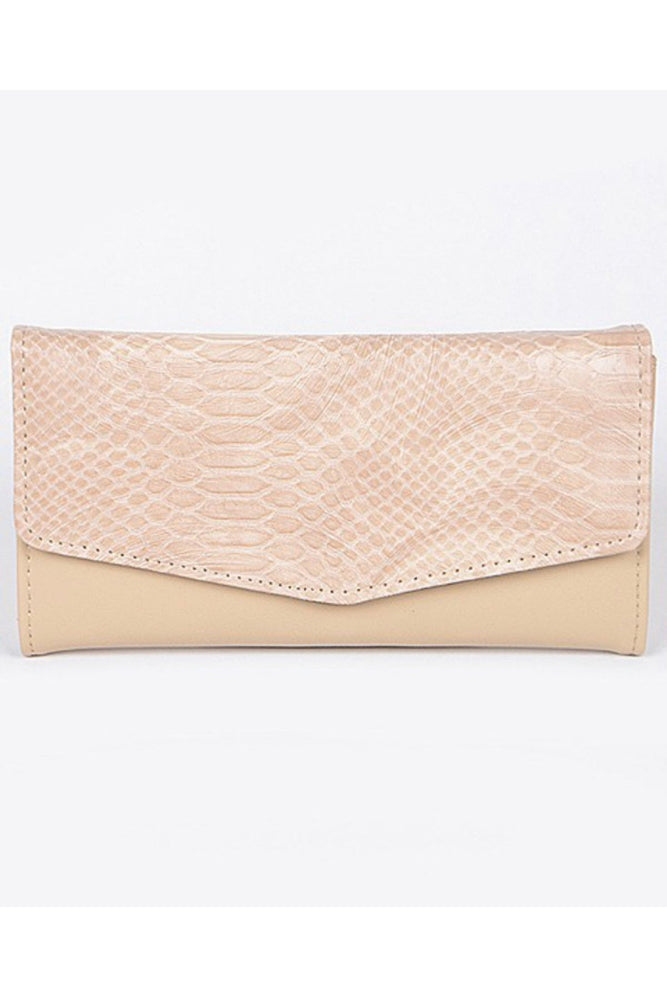 Leather Snake Print Wallet | Khaki