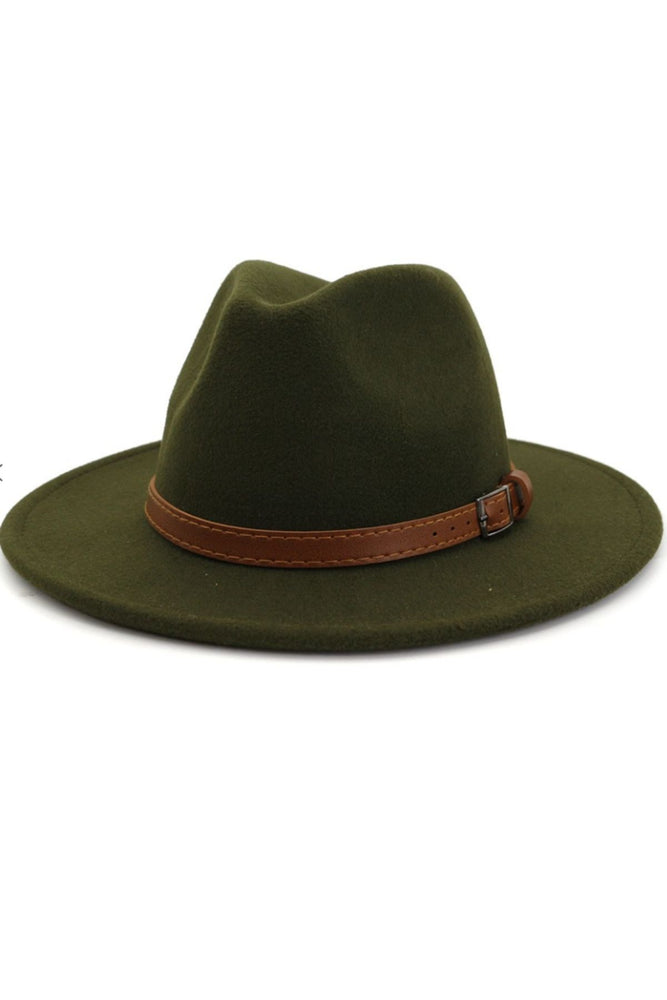 Fedora Hat with Brown Belt (Green)
