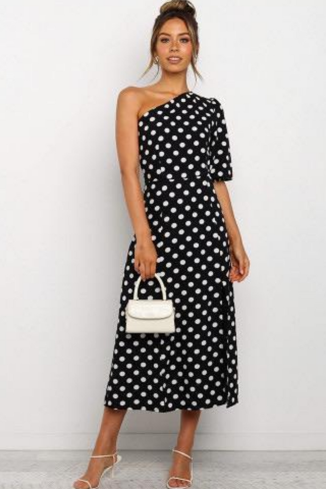 Classic Polka Dots Split Dress