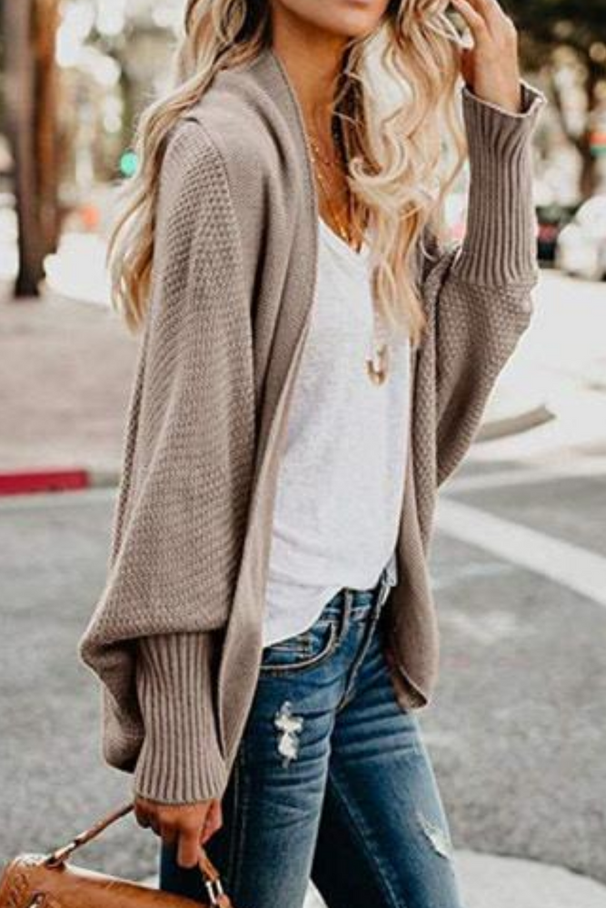 Khaki Knitted Oversized Cardigan