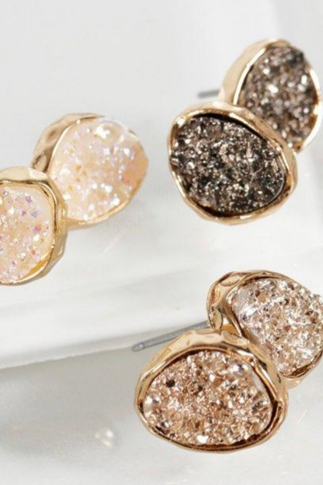 Dainty Oval Druzy Earrings