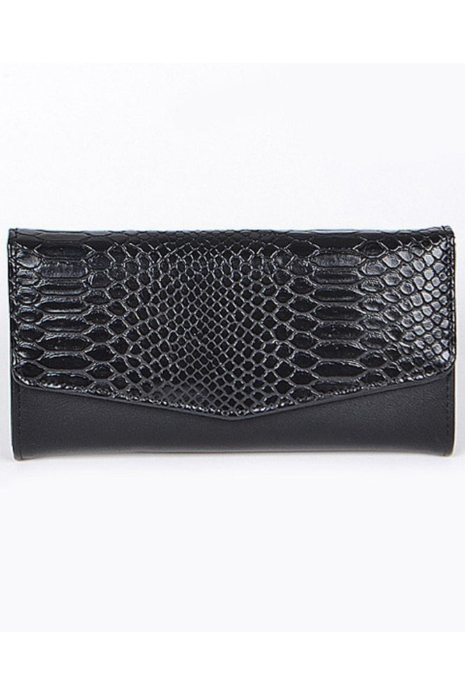 Leather Snake Print Wallet | Black