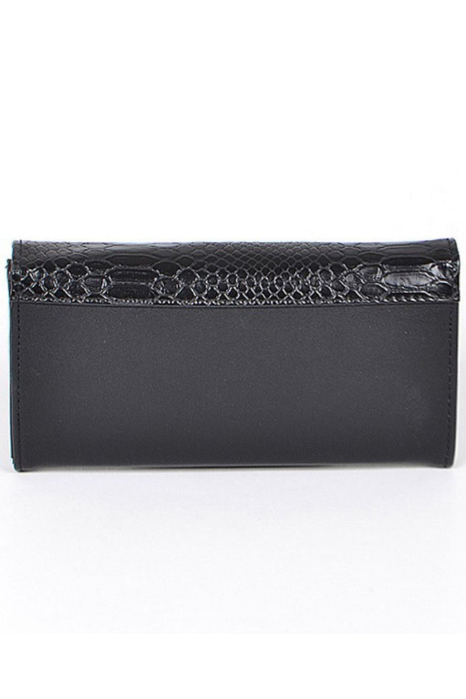 Leather Snake Print Wallet | Black - Fabuluxe Boutique