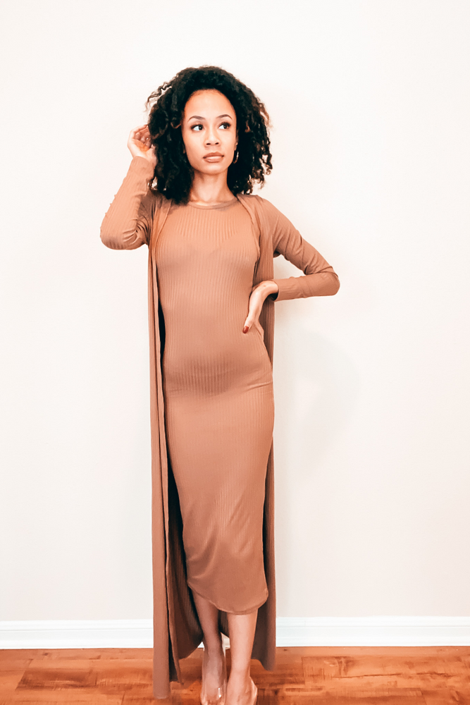 2 Piece Cardigan Dress | Mocha