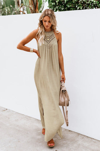 Loose Sleeveless Crochet Dress
