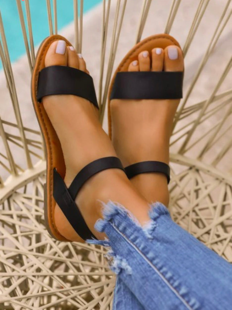 Open Toe Black Sandals