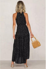 High Collar Polka Dot Dress