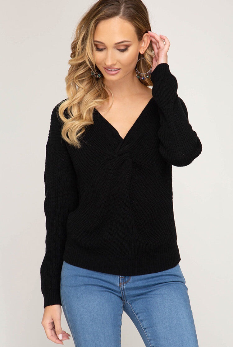 Knitted Cross Sweater Black