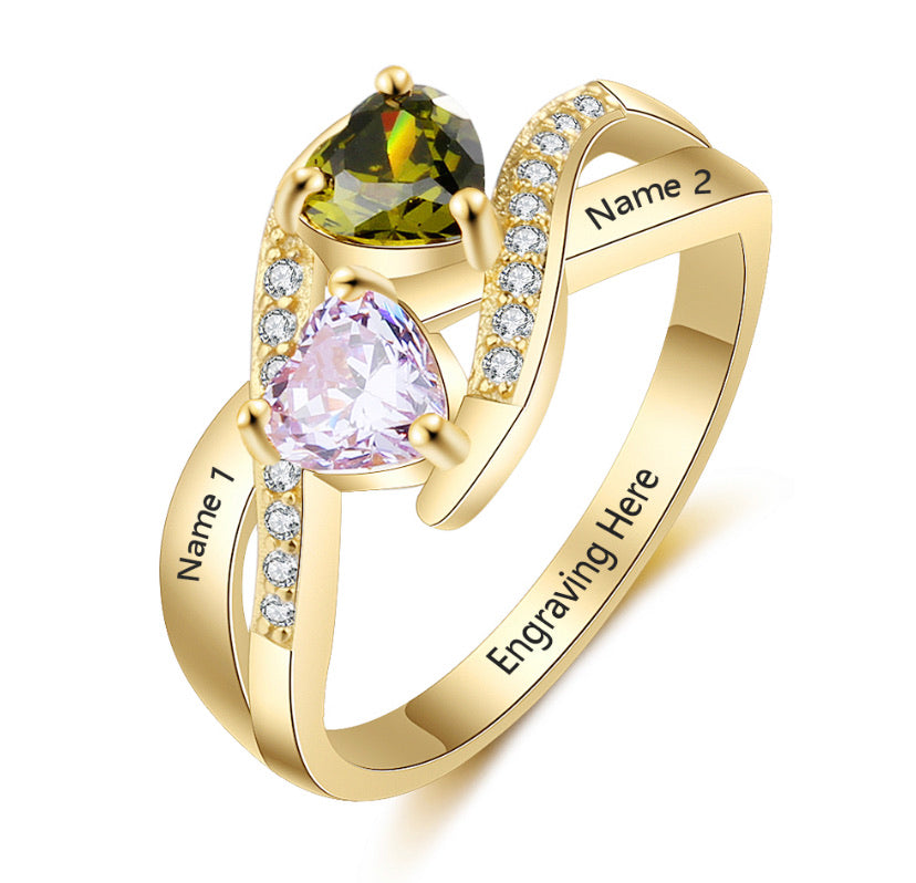 Crystal Gold Birthstone Ring (Hearts)