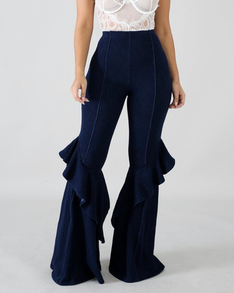 High Waste Ruffle Jeans