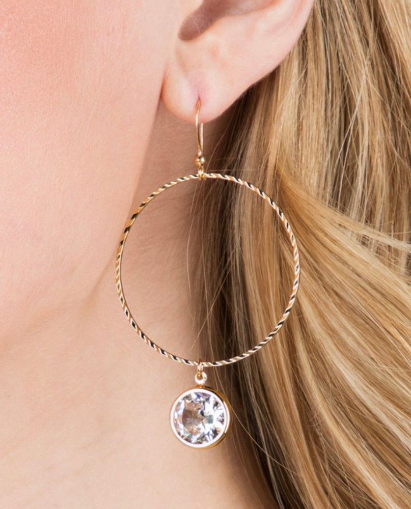 Crystal Hoops Earrings