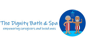 The dignity bath and spa logo showing two empowered people wearing the wrap