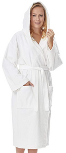 Hooded Terry Cloth Robe - keep loved one warm and dry from head to knee