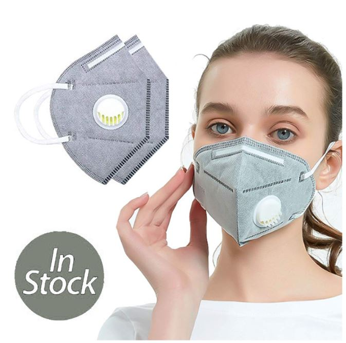 3 Layers KN95 Grey Mask with Exhalation Valve