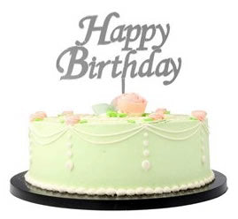 Happy Birthday Silber Cake Topper, Glas