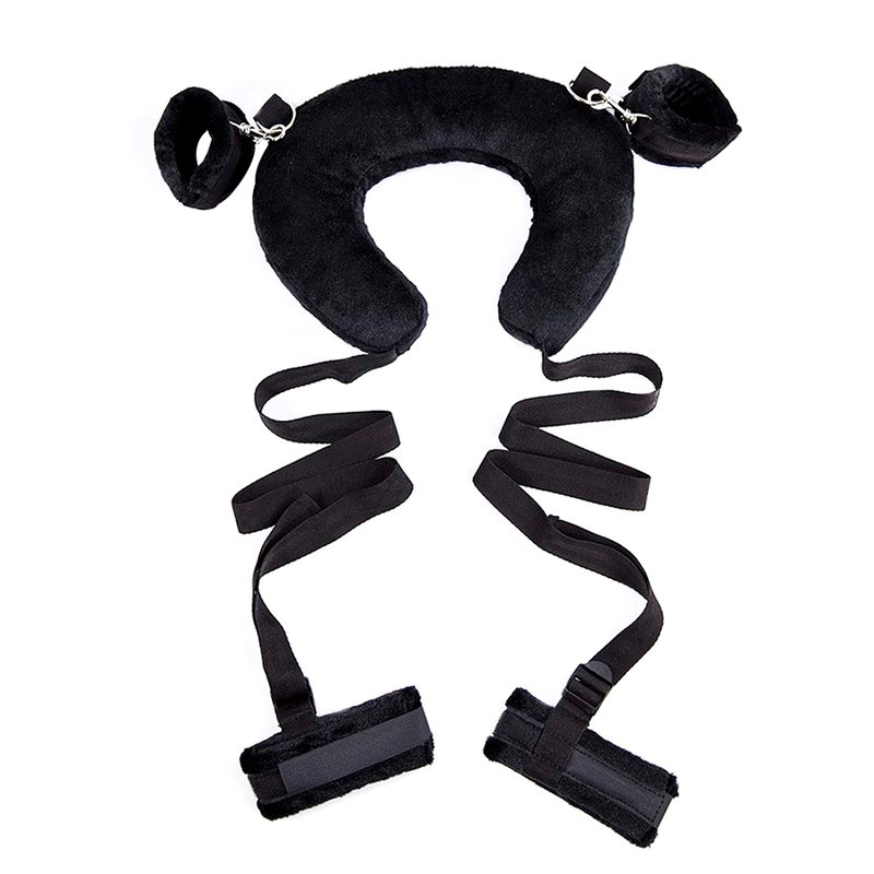 SEX PILLOW WITH ANKLE RESTRAINTS BLACK