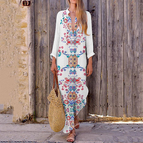 Bohemian Printed Stretch Cotton/Line V-Neck Dress