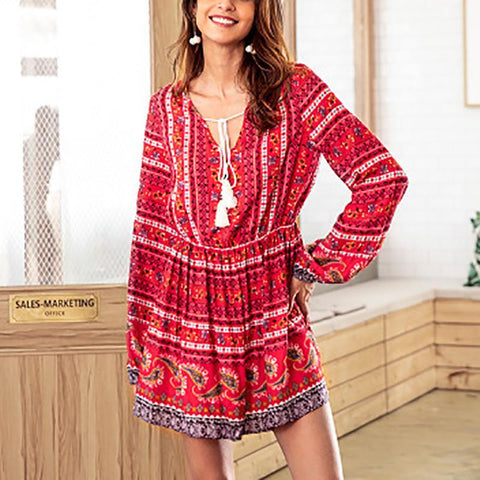 Bohemian V-Neck Long-Sleeved Drawstring Floral Dress