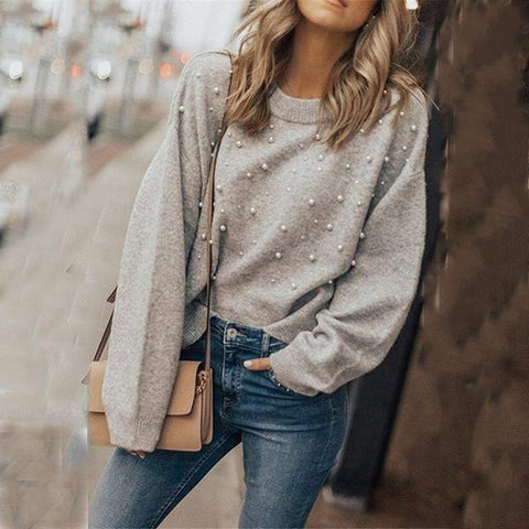 Pure Color Rabbit Neck Knit Sweater With Beads