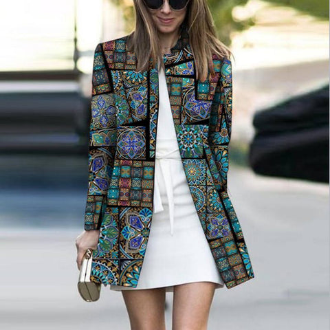 Fashion Printed Colour Long Sleeve Outerwear