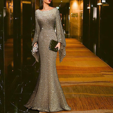 Elegant Silver Trumpet Sleeve Sexy Fishtail Cocktail Evening Dress