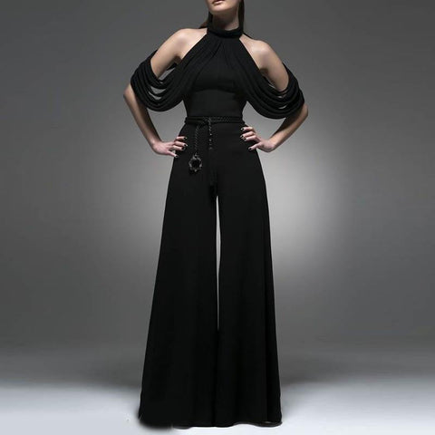 Fashion Pure Color Stant Neck Backless Jumpsuit