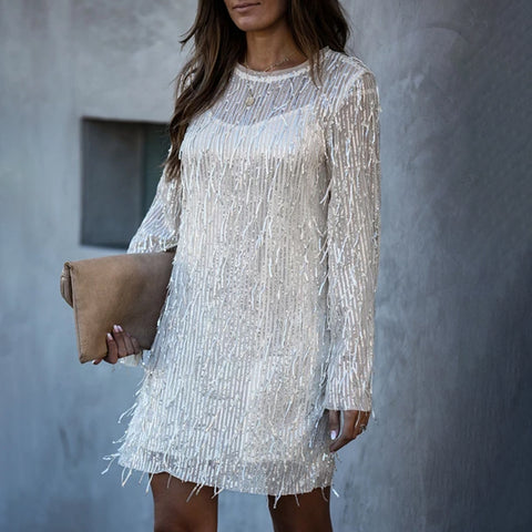 Fashion Round Neck Splicing Tassel Long Sleeve Dress