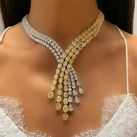 Fashion Color Matching Flash Rhinestone Women's Necklace