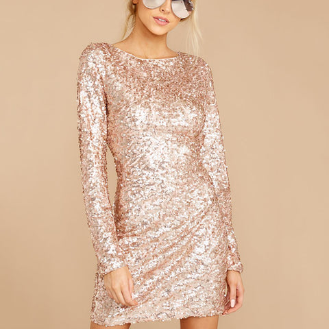 Fashion round collar long sleeve sequin dress