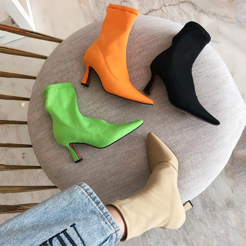 Women's Candy-Colored Pointed Stretch Cloth Booties