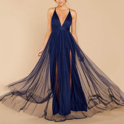 Fashion deep V sling solid color mesh evening dress