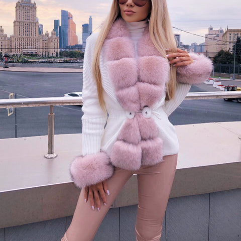 Fashion faux fur stiching knit fitted coat