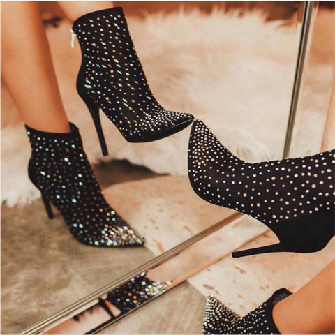 Sexy Ladies Rhinestone Pointed Toes Ankle Boots