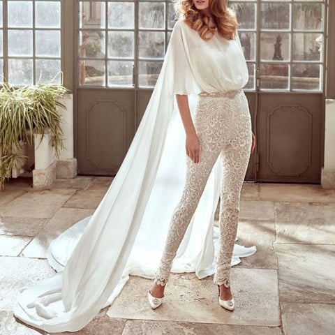 Women's Fashion Shawl Slim Fit Lace Jumpsuit