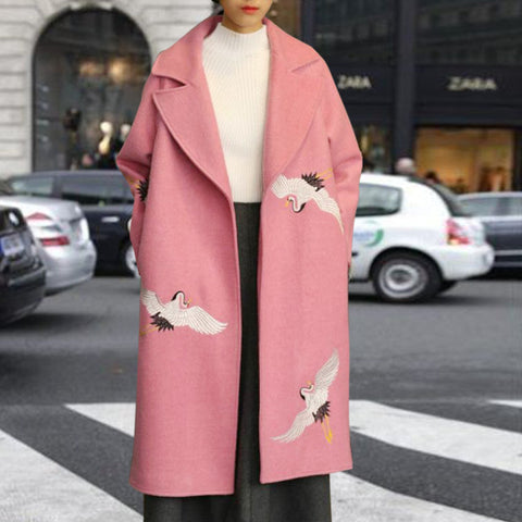 Sweet Solid Color Embroidered Fabric Long Sleeve Coat