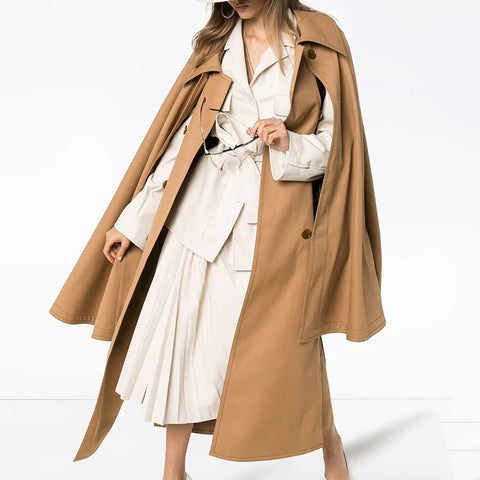 Fashion Khaki Cloak Sleeve Double Breasted Belt Coat