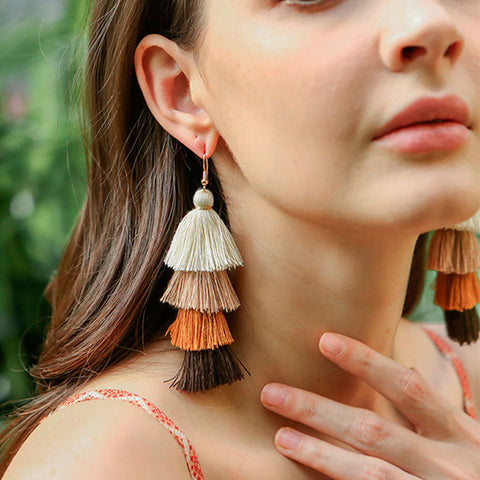 Women Fashion Bohemian Multi-layer Fringed Earrings