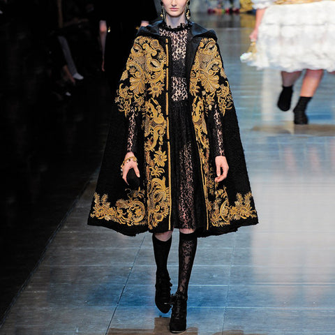 Fashion gold embroidered hooded cape coat