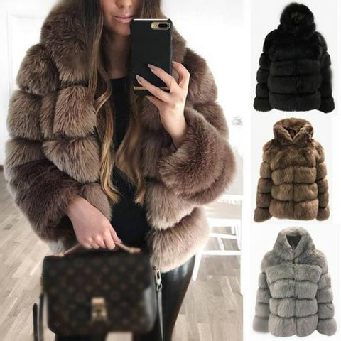 Turtle Neck Long Sleeve Elegant Fur Outerwear