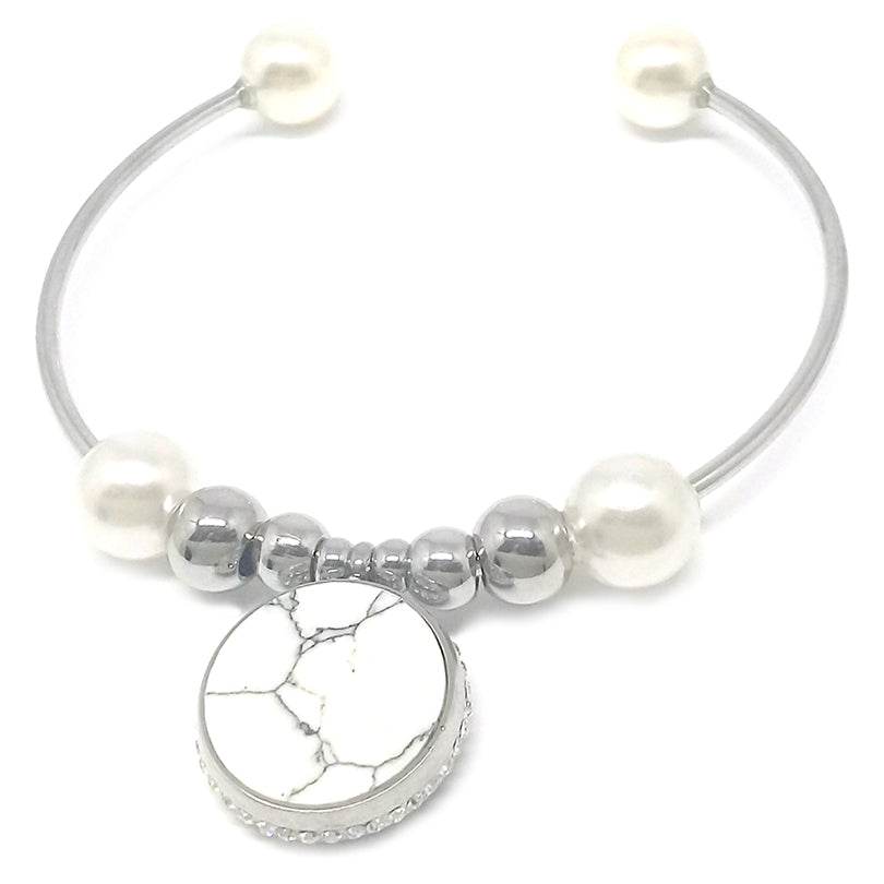 Pearls with Marble Pendant Bracelet