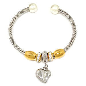 Open Bracelet with Heart and Pearls