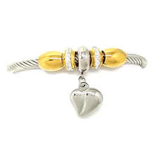 Load image into Gallery viewer, Open Bracelet with Heart and Pearls