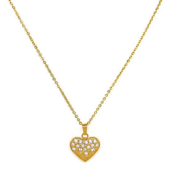 Gold Stone Heart Necklace