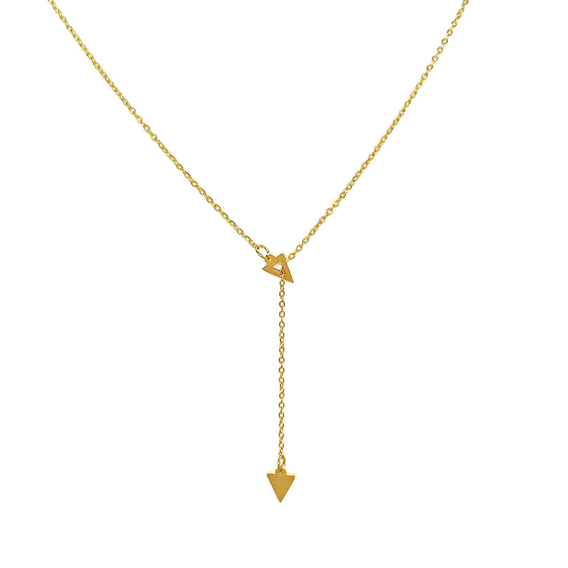 Gold Chain with Dangle Triangle Necklace