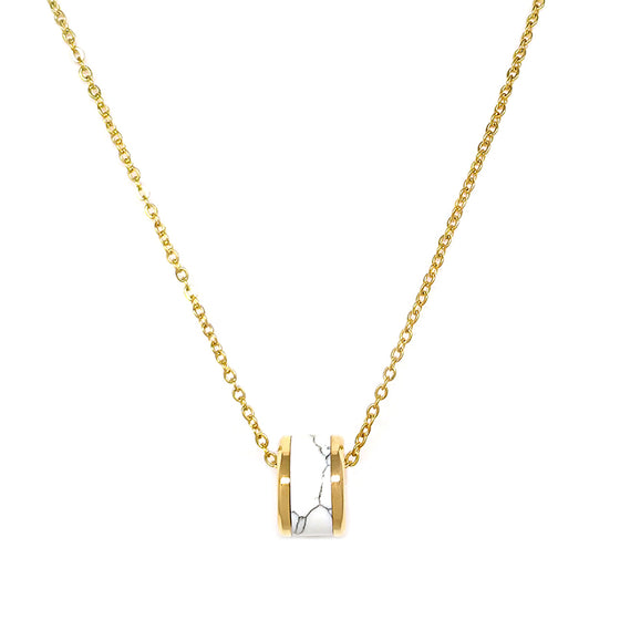 White and Gold Cylinder Necklace