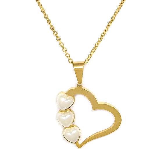 Three Pearls Heart Necklace