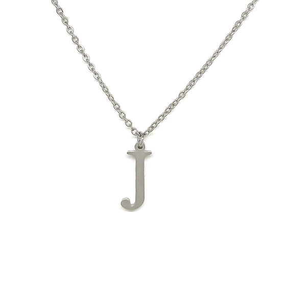 Letter J Silver Necklace