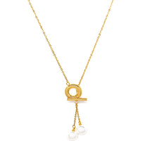 Load image into Gallery viewer, Two Pearls with Gold Chain Necklace