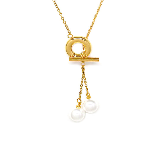 Two Pearls with Gold Chain Necklace